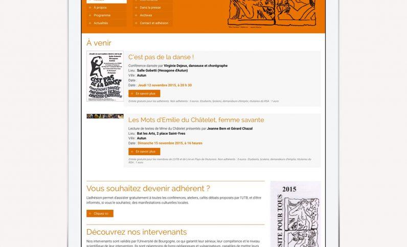 Galerie du projet : Université Pour Tous, Jean-Charles GIEN, création de sites Internet à Mâcon (71) et Lyon (69)